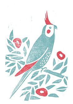 Linocut, Parrot by Ilse Weisfelt, via Behance