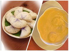 A dessert of the Peranakan people of Singapore and Malaysia: Soft rice-flour cakes made fragrant with the essence of Morning Glory flowers, and eaten dipped in a Banana sauce