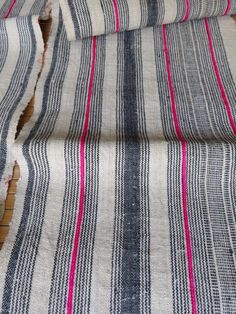 """18 Ft 4"""" inches long, by  11"""" inches wide / VINTAGE HEMP FABRIC, HANDWOVEN BEAUTIFUL HEMP FABRIC, A beautiful fabric vintage hmong Heavy weight hemp fabric, measurements 560 cm long, or"""