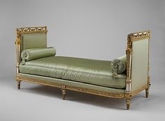 Daybed (Lit De Repos), Jean-Baptiste-Claude Sené, Painted and gilded by Louis-François Chatard, 1788, French, carved, painted and gilded walnut. From the Cabinet de Toilette, Palace of Saint-Cloud, France of Marie Antoinette.