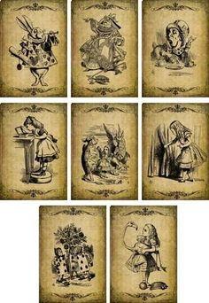 Vintage Inspired Alice In Wonderland Grunge Scrapbooking Crafts Small Cards S/8