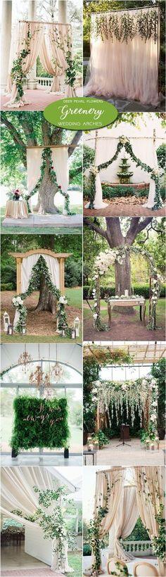 Neutral greenery wedding arch and alter ideas / http://www.deerpearlflowers.com/greenery-wedding-decor-ideas/2/