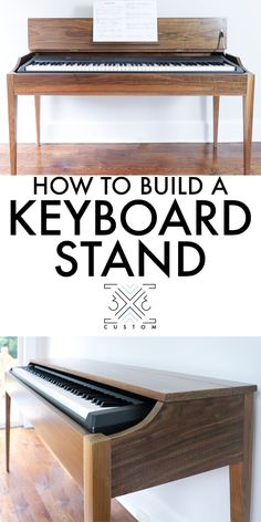 Love the modern design on this custom Walnut Keyboard stand by Custom bench design furniture jigs techniques Woodworking Projects That Sell, Woodworking Techniques, Woodworking Projects Diy, Woodworking Furniture, Custom Woodworking, Fine Woodworking, Popular Woodworking, Wood Projects, Woodworking Magazines
