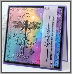 Kindness Dragonfly Vine #card by Lisa Folley #dragonfly #distressink
