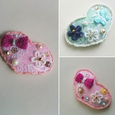 フェルトのスリーピン。 ビーズやレースを刺繍して作りました。 色違いで何個も作りたいな。  #handmade #accessories #baby #toddler #ハンドメイド #手作り #ハンドメイドアクセサリー #ハンドメイドヘアアクセサリー #ヘアアクセサリー #髪飾り #スリーピン #パッチンどめ #ハート #フェルト #ベビー #ヘアピン