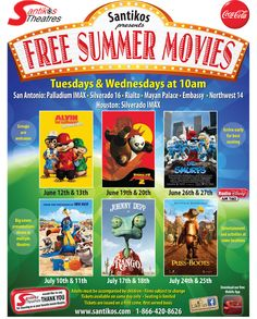 For the #summersa gang, @SantikosTheatre has free summer movies. They start in June. Our family loves them!