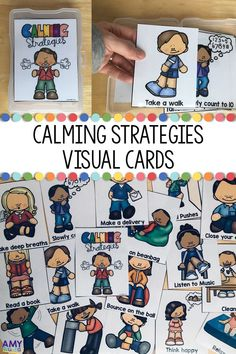 Calming Strategies Visual Cards for kids are perfect for your classroom calm down kit to help students to choose a coping strategy. These visual supports help children by providing picture choices of activities and ideas to use to help to calm down when a child is upset. These are a great teacher tool when dealing with students with autism or behavior concerns to assist with classroom management. These cards fit perfectly into Iris Photo storage container boxes. Calm Down Box, Calm Box, Social Emotional Development, Social Emotional Learning, Autism Activities, Autism Resources, Teaching Resources, Kindergarten Classroom Management, Classroom Helpers