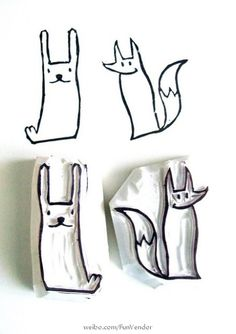 rubber stamps. Could make these using an eraser