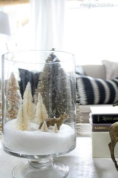 Christmas 2018 Trends Crazy Wonderful: christmas home tour christmas coffee table decor bottle brush tree vignette bottle brush tree collection christmas apothecary jar ideas christmas snow globe jar silver and gold christmas decor Christmas Snow Globes, Christmas Coffee, Noel Christmas, Simple Christmas, Christmas 2019, Coffee Table Christmas Decor, Christmas Vacation, Christmas Center Piece Ideas, Christmas Vignette