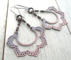 Copper Lotus Earrings