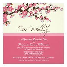 Cherry Blossom Wedding Invitation Pink