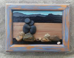 "Pebble Art / Rock Art Couple in the pretty desert,  vacation gift, anniversary gift, honeymoon gift,  ""open"" 5x6 frame (Free Shipping)"