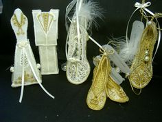 """FSL... 3D FSL Wedding Set ....... This will make two different sets of sweet bride and groom FSL decorations for the table or the top or the wedding cake. Downloaded from - Ace Points... FSL Embroidery Shoes...... Downloaded from - A Stitch and a Half,,,,, Each shoe has it'sown special charm, """"shoe lovers"""" who would like to use this design to give away as favors or gifts for the bride, or even can be used on the wedding cake."""