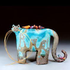 TWEEZLE PICKSNIFFIAN  Raku Ceramic by Carole Fleischman