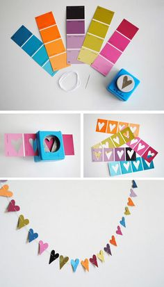 paint chip hearts--the paint stores might start charging for these if we keep coming up with ways to use them!