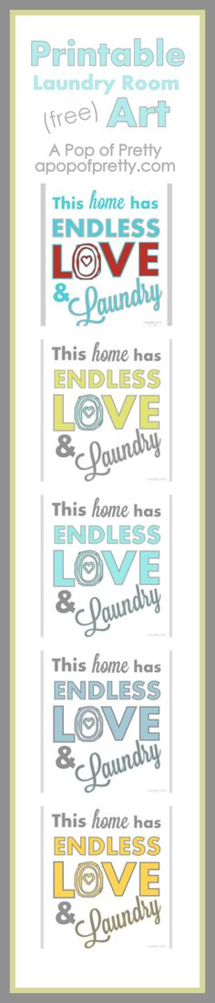 Free printable art for a laundry room, now in a bunch of colors, from A Pop of Pretty, apopofpretty.com.