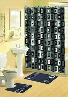 Shower Curtains Bathroom Sets Lovely Modern Black Multi Pcs Bathroom Shower Curtain with Hooks Bath Rug Set Walmart Black Bathroom Sets, Bathroom Rug Sets, Bathroom Accessories Sets, Bathroom Shower Curtains, Fabric Shower Curtains, Curtain Fabric, Hall Bathroom, Brown Bathroom, Master Bathroom