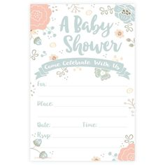 charming floral baby shower invitations - Free Baby Shower Invitations Templates Pdf