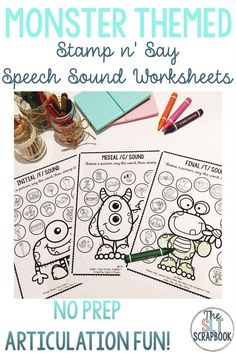These monster themed no prep speech sound worksheets are perfect for speech therapy sessions and for using as homework! I love that I can just print and use them right away with crayons, stampers or play dough! These will be great to use throughout October for Halloween themed sessions, but I'll be able to use them year round too, because who can resist these adorable monsters?