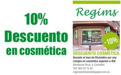 Regims: ¡Descuento de 10% en Cosmética! http://www.castellom.com/ver_entrada/32.html
