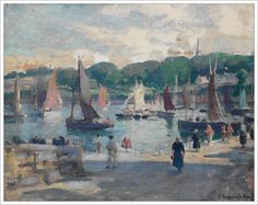 """Jules Raymond Koenig 1872-1966, """" Le port de Douarnenez """""""
