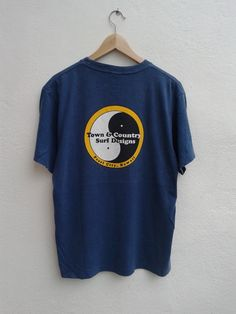 Town And Country Surf Design Vintage Wave Vibes Giant Logo T-Shirt Size L by BubaGumpBudu on Etsy Spring Sale, Summer Sale, Town And Country Surf, Surf Design, Wave, Surfing, Unisex, T Shirts For Women, Logo