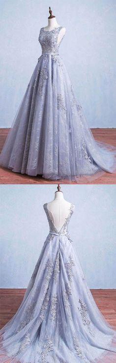 Open Back A-line Tulle Prom Dresses Scoop Neck Lace Appliques Women Dresses