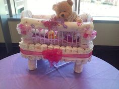 BABY SHOWER~diaper baby bed. No directions...but so cute.