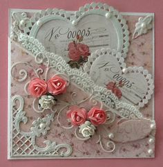 Lovely heart pocket card - you could put special messages on the valentines to be pulled out & read by receiver.
