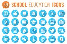 Round Flat White School Icons by vectorikart on @creativemarket