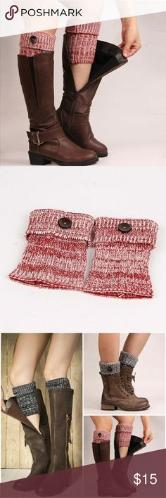 2 Tone Boot Cuffs- Red Super cute 2 tone boot cuffs with button detail. Comes in Black, Red and Blue  AE4FACMC92217 Accessories Hosiery & Socks