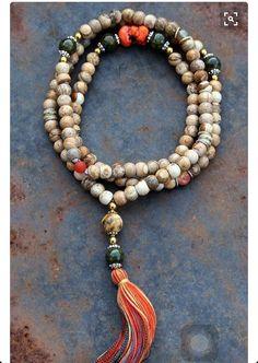 Mala made of 9 x 10 mm - x inch, jasper gemstones and decorated with yakbone, agate, faceted agate and howlite. Tassel Jewelry, Yoga Jewelry, Bohemian Jewelry, Beaded Jewelry, Jewelery, Jewelry Necklaces, Handmade Jewelry, Beaded Bracelets, Boho