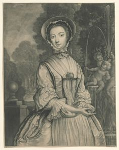 Lady with a Fan, McArdell after Bourguigon, ca. 18th Century Dress, 18th Century Clothing, 18th Century Fashion, Historical Costume, Historical Clothing, Winterthur, Museum Collection, Fashion History, Lady