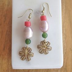 Tiered Coral Pearl Flower Earrings- Laura James Jewelry – Laura James Jewelry
