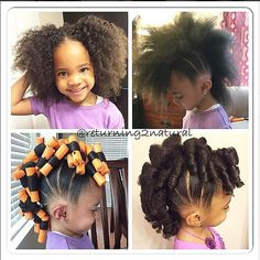 Cute little girl's hairstyle. Mohawk with flexi rods. Super cute & simple! Perfect for all hair types.