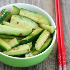 Chinese Spicy Cucumber Salad -  INGREDIENTS:  4 Persian cucumbers 1/2 tsp salt 1 tbsp finely chopped garlic ~ 1 tbsp rice vinegar ~ 1/2 tbsp sesame oil ~ 1/2 tbsp granulated sugar ~ 1 tbsp light soy sauce ~ 1/2 tbsp chili paste ~ 1/2 tbsp red chili flakes