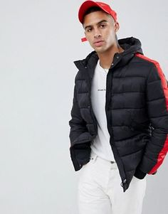 Shop the latest Sixth June puffer jacket with red taping trends with ASOS! Men's Coats And Jackets, Puffer Jackets, Winter Jackets, Streetwear Jackets, Winter Fashion, Street Wear, June, Asos Men, Menswear