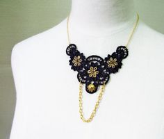 black lace necklace  steampunk bib  gold chain floral by LaceFancy, $13.99