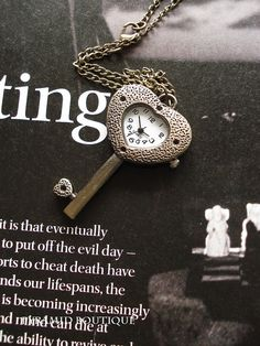 SALE30OFFBronze Heart Key Pocket Watch by pyramidboutique on Etsy, $4.99