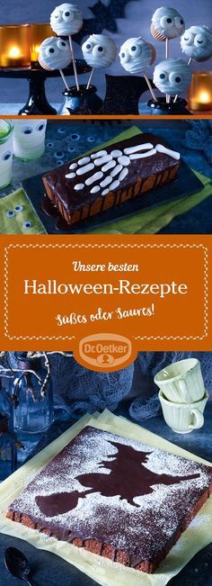 Unsere besten Halloween-Rezepte: Auf der Suche nach gruseligen Halloween-Party-R… Sponsored Sponsored Our Best Halloween Recipes: Looking for Creepy Halloween Party Recipes? Just surprise the disguised guests with cool Halloween recipes. Halloween Desserts, Halloween Torte, Pasteles Halloween, Creepy Halloween Party, Halloween Brownies, Soirée Halloween, Whimsical Halloween, Halloween Appetizers, Halloween Cupcakes