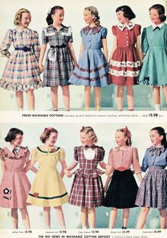 Costumes what-i-found: Sears, Roebuck and Co. Catalog from 1948 - Little Girls - Dresses, Coats and Jodpurs, Oh, My! Girls Dresses Sewing, Vintage Girls Dresses, Little Girl Dresses, Vintage Outfits, 60s Dresses, Pageant Dresses, 1940s Fashion, Kids Fashion, Vintage Fashion