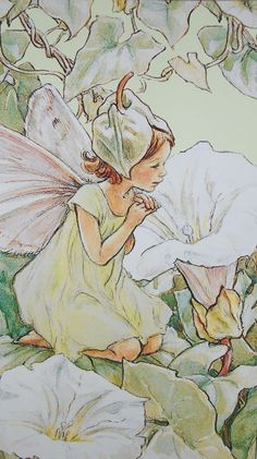 Flower Fairy Morning Apple Cicely Mary Barker Fabric Panel. $7.50, via Etsy.