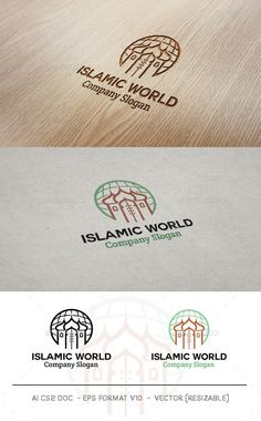 Islamic World Logo: Building Logo Design Template by Mr-goro. Logo Design Template, Logo Templates, Building Logo, Architecture Logo, Book Logo, Round Logo, Education Logo, School Logo, Company Slogans