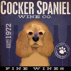 Cocker Spaniel dog Wine Company original graphic by geministudio