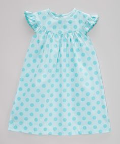 Barefoot Blanks Aqua Polka Dot Angel-Sleeve Dress - Infant, Toddler & Girls by Barefoot Blanks #zulily #zulilyfinds