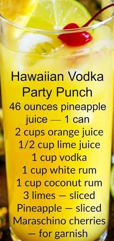Punch recipes and party drinks - easy punch recipe - vodka party punch for a crowd - pineapple juice, orange juice, rum Fruity Alcohol Drinks, Easy Alcoholic Drinks, Alcohol Drink Recipes, Vodka Cocktails, Alcoholic Drinks Less Calories, Summer Alcoholic Punch, Alcoholic Drinks With Pineapple Juice, Alcoholic Drinks Recipes With Vodka, Cocktail Drinks