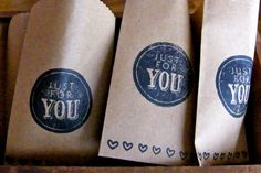 "Wedding Favor ""Just for You"" Bags. $3.00, via Etsy."