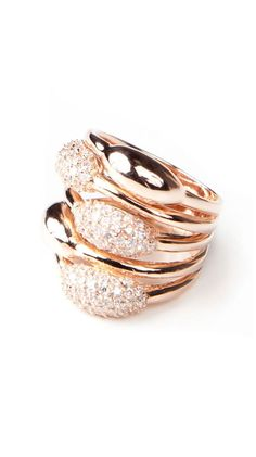Multirow Pave Bud Ring by Adam Marc