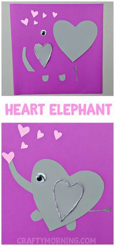 Heart Elephant Valentine Craft - Adorable heart shape animal art project for the kids to make on Valentine's Day!