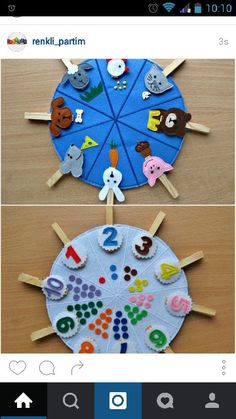 Double sided felt educational toys, matching number busy bag, animals and their food, preschool learning, clothespins game Doubles faces jouets éducatifs feutres correspondance numéro This toy is for children over 2 years. Made of felt in the form of bi Montessori Activities, Preschool Learning, Toddler Activities, Preschool Activities, Montessori Education, Teaching, Montessori Toddler, Baby Education, Preschool Kindergarten